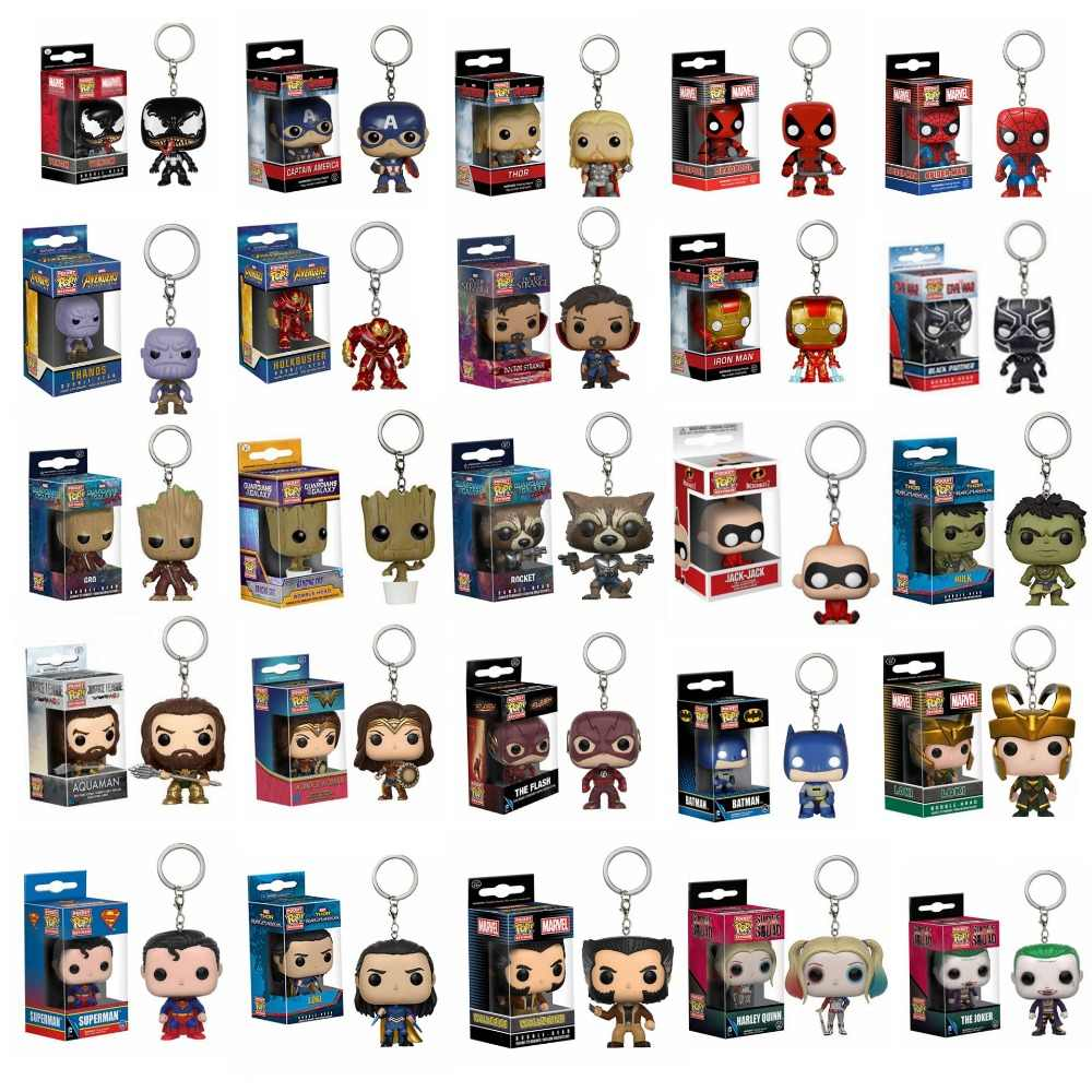 POP Bolso Chaveiro Caracteres Mulher Maravilha Thanos The Avengers Marvel Venom Aquaman Batman Action Figure Collectible Modelo Toy