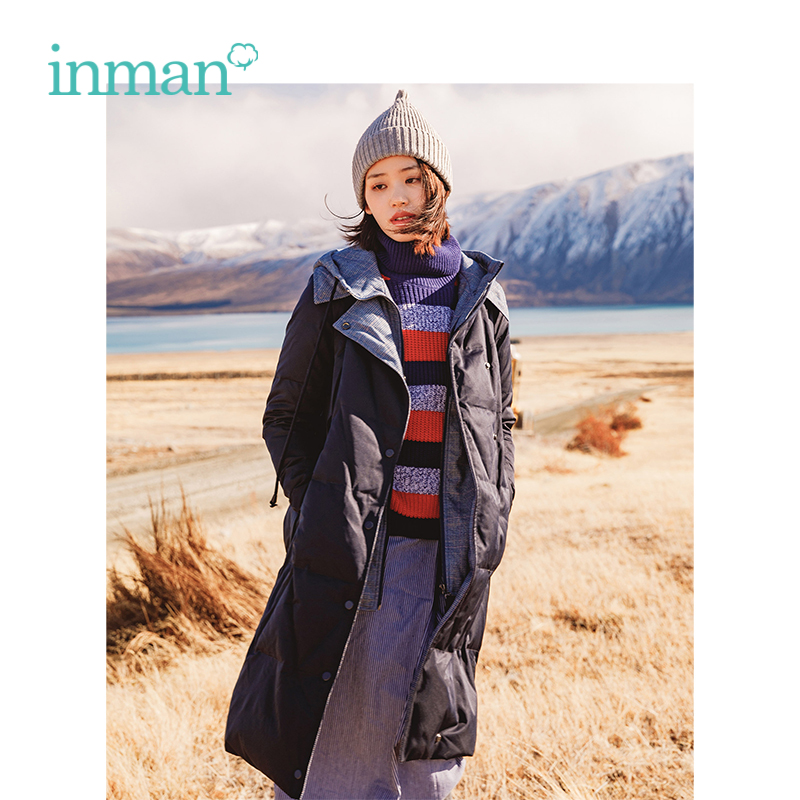 INMAN Winter New Arrival Female Drawstring Hooded Contrast Color Two-piece Suit Long Section   Down     Coat