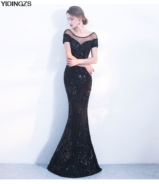YIDINGZS Elegant Backless Long Evening Dress Mermaid Black Party Sequins Maxi Dress