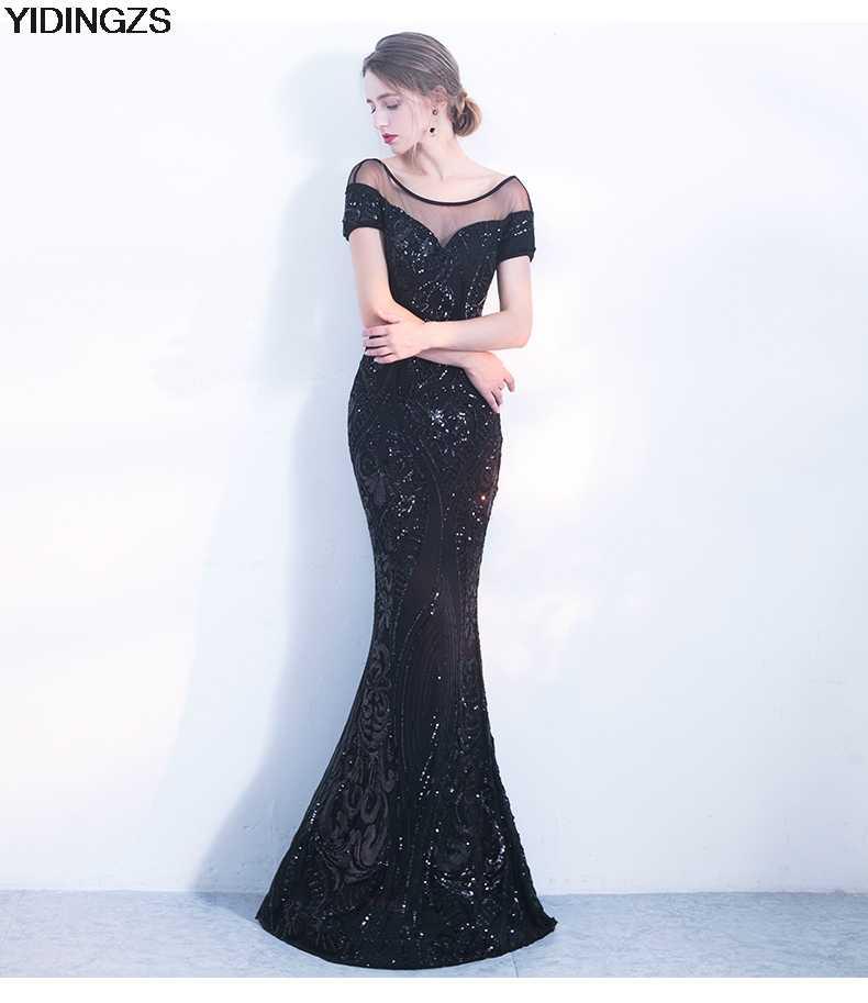 ... YIDINGZS Elegant Backless Long Evening Dress Mermaid Black Party  Sequins Maxi Dress a7f89341a1a4