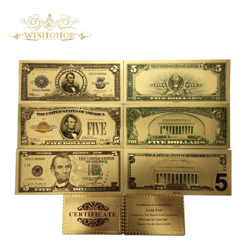 7 Teile/los Farbe Amerika Set Banknoten Usd 5 Dollar Banknoten Bills Banknote In 24 Karat Gold Papier Geld Für Sammlung Durch Wissenschaftlichen Prozess