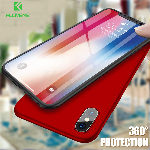 FLOVEME Case For iPhone 6 iPhone 5 5S SE 360 Degree Case For iPhone 7 8 6S Plus Hard Cases For iPhone X 6S 7 Free Tempered Glass