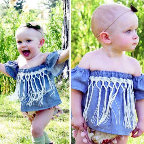 Pasgeboren Peuter Baby Meisje Sunsuit Zomerkleding Jeans Denim Off Schouder Kwasten Mouwloze Blouse Shirt Kleding Jumper Outfit