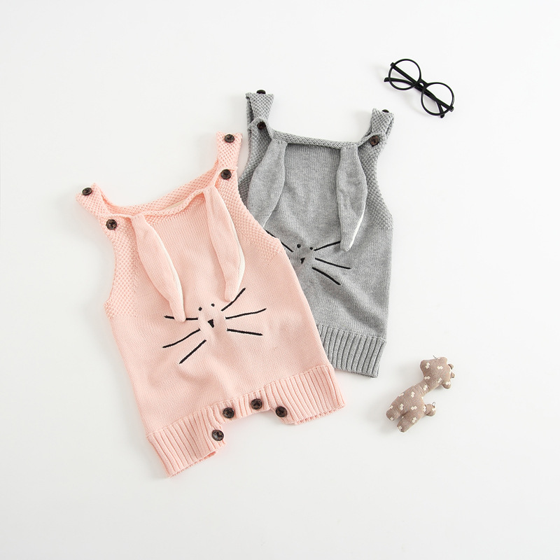 Brand Newborn Baby Girl Knitting Romper Autumn Infant Kid Clothes Long Sleeve Rabbit Ear Warm Crochet Outfits Casual Clothes infant newborn baby girl summer casual clothes big ruffles sleeve watermelon romper outfits sunsuit jumpsuit clothing