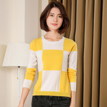 2016 Hot Winter new Korean Version Spell color O-Neck pure Cashmere Sweater hit color knit Sweater