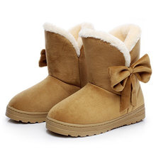 ef4996ae1f5f8 Femmes bottes de neige D hiver bottines pour femme Chaud En Peluche Bowtie  Fourrure Daim