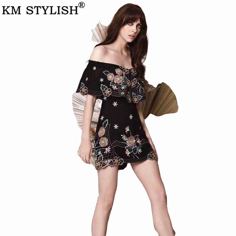 Australien Junior Tide marque 2019 été noir et bleu femmes Mini robe broderie volantée Slash col Slim une-pièce robe