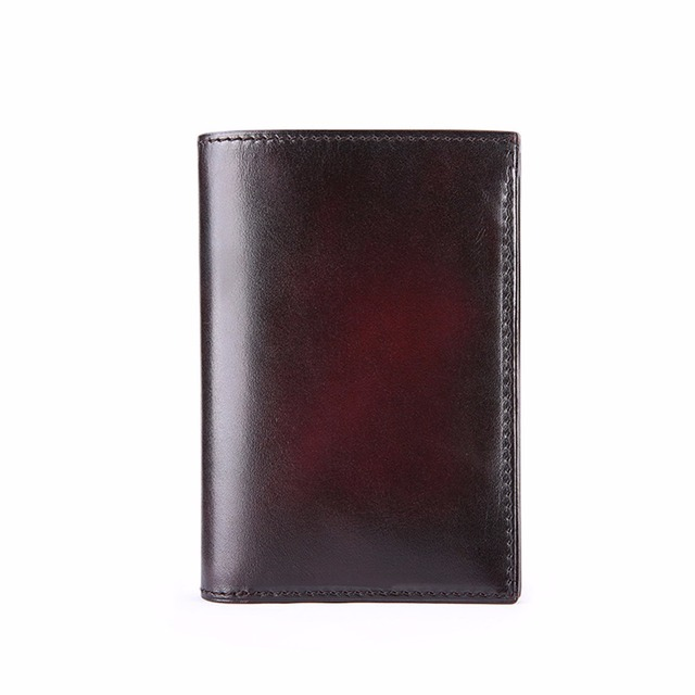 TERSE_Card Wallet Handmade Genuine Leather Card Holder Green Color in Stock Hand Patina Bag Custom Logo Bag