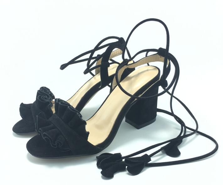 2017 Fashion Ruffles Suede Leather Women Open Toe Sandals 9cm Chunky Heel Ladies Lace Up Sandals Concise Style Sandals summer new fashion cross tied lace up straps women black leather sandals sexy open toe zipper back chunky heel sandals