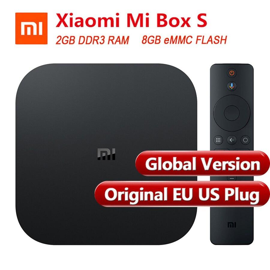 Global Versão Original Xiao mi mi Caixa S 4 Inteligente Caixa de TV Android 8.1 K Quad Core 2 4 GB 8 GB HD mi 2.4G 5.8G WiFi Bluetooth 4.2 Caixa de TV