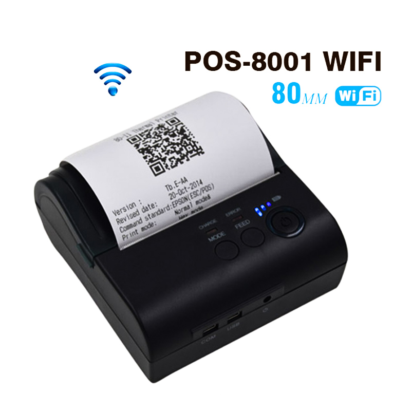 ZJiang Portable Termal Printer 80mm ZJ POS-8001 WIFI Thermal Receipt Machine with Wifi Password for Windows Android iOS