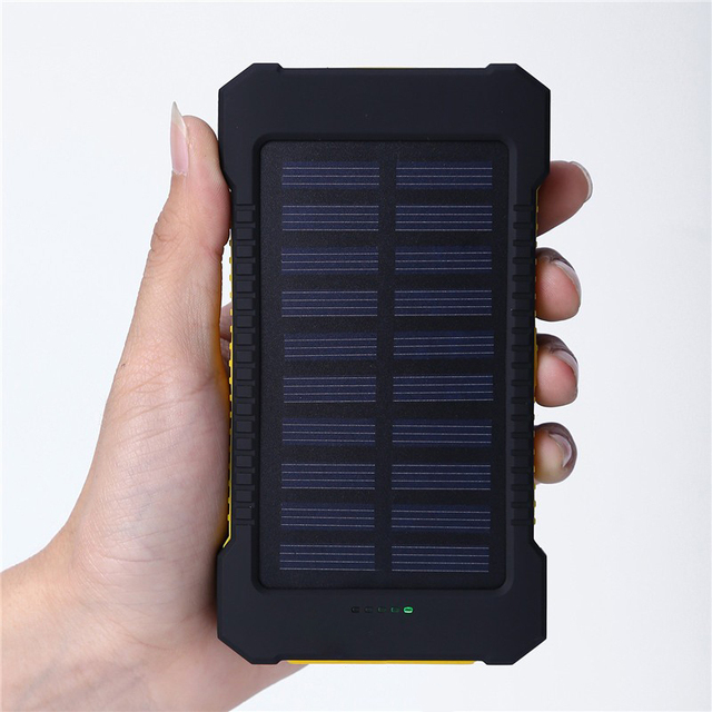 YFW Solar Charger 10000mAh Power Bank Waterproof External Battery Dual USB with LED Flashlight with Compass for  Mobile Phone