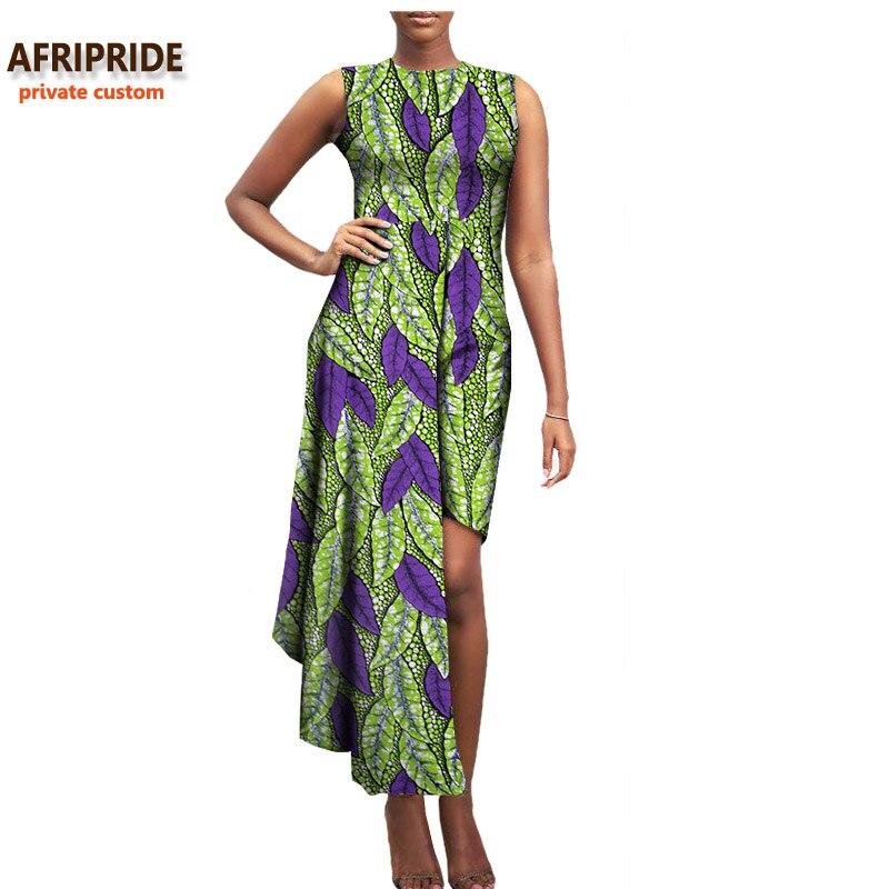 2017 שמלת סתיו נשים אפריקאיות AFRIPRIDE מנהג פרטי באורך אמצע שוק, שרוולים שמלה מזדמן טהור סופר כותנה בטיק A722587