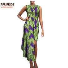 купить 2017 autumn african women dress AFRIPRIDE private custom sleeveless mid-calf length casual dress pure super batik cotton A722587 по цене 2521.79 рублей