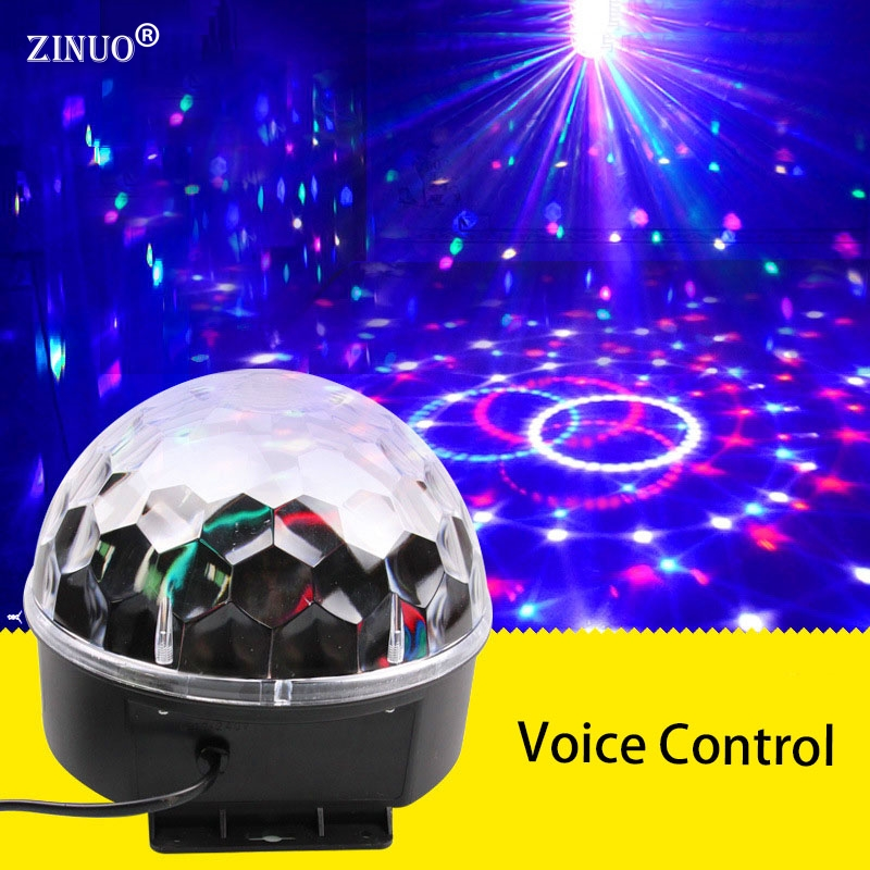 ZINUO6 Color Voice Control RGB Crystal Magic Ball Stage Lamp Disco DJ Light Party Lights Sound Control Christmas Laser Projector mini rgb led party disco club dj light crystal magic ball effect stage lighting