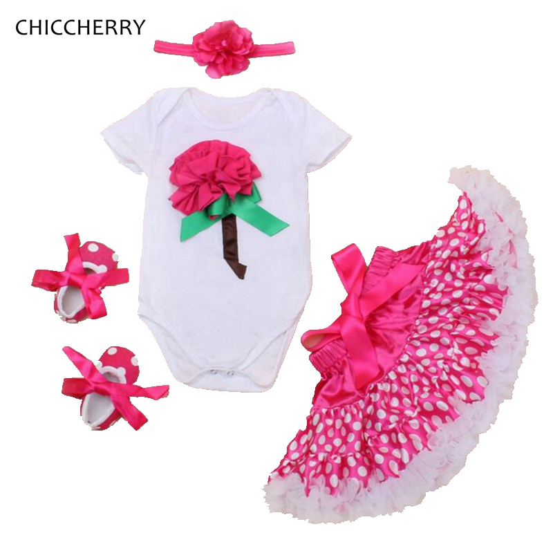 Flower New Year Gift Infant Baby Bodysuit Set Headband Dots Lace Skirt Valentine Outfits Faldas De Tul Newborn Baby Girl Clothes
