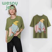 2019 t-shirt women england style vintage cartoon Little elephant printing o-neck cotton summer t shirt tops