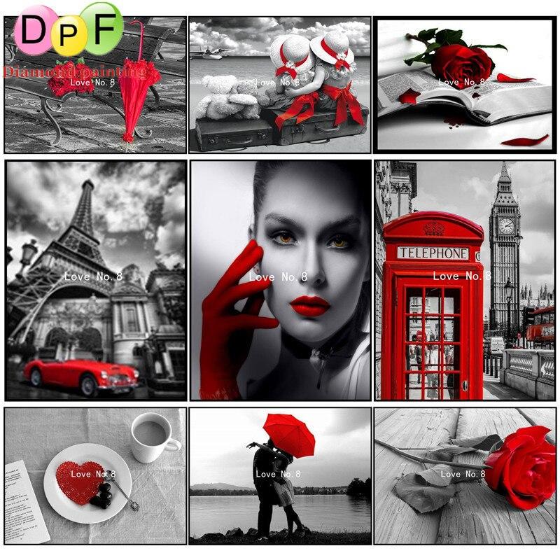 Série dpf24 vermelho e preto diy praça cheia de diamantes pintura diamante ponto cruz 3d diamante mosaico bordado decoração da casa da lona pintura
