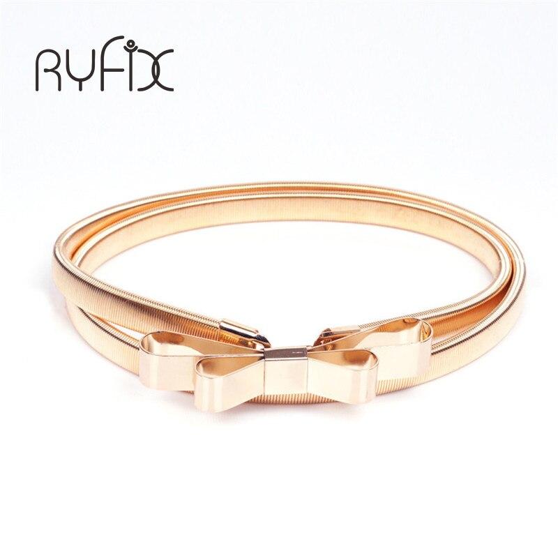 2019 Hot sales women belt metal bow thin elastic belt golden /sliver elastic waistband chain BL01