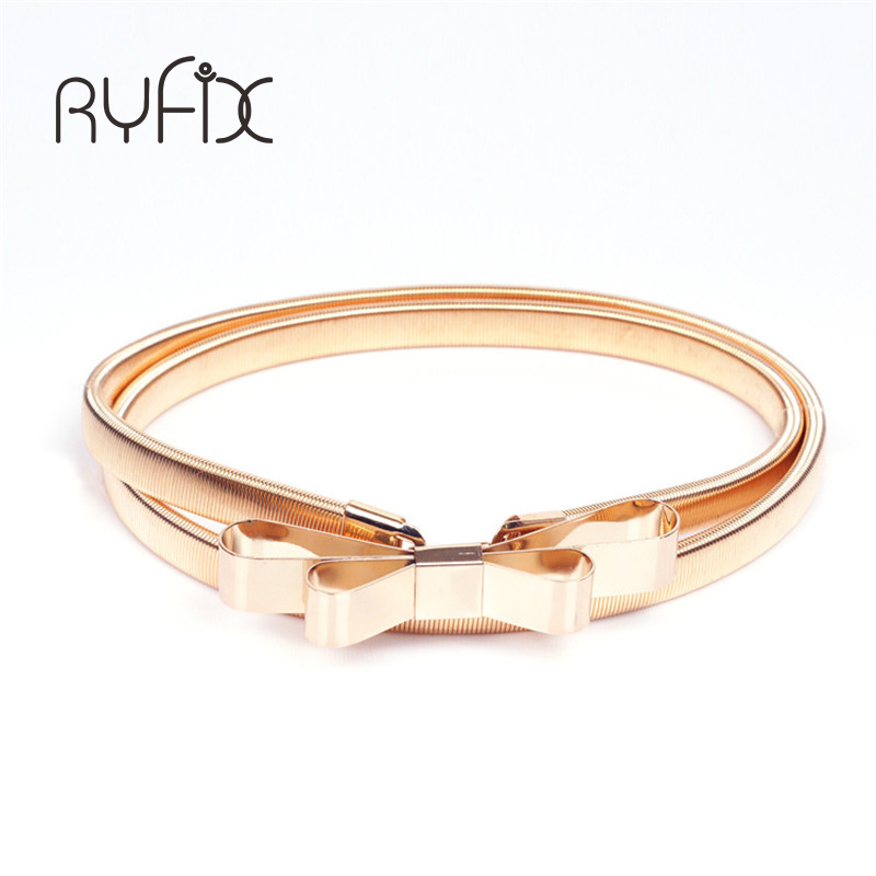 2019 Hot sales women   belt   metal bow thin elastic   belt   golden /sliver elastic waistband chain BL01