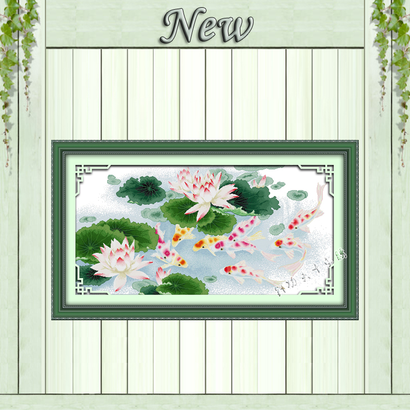 Nine fishes and lotus picture painting counted print on canvas DMC 14CT 11CT Chinese Cross Stitch Needlework Set Embroidery kits image