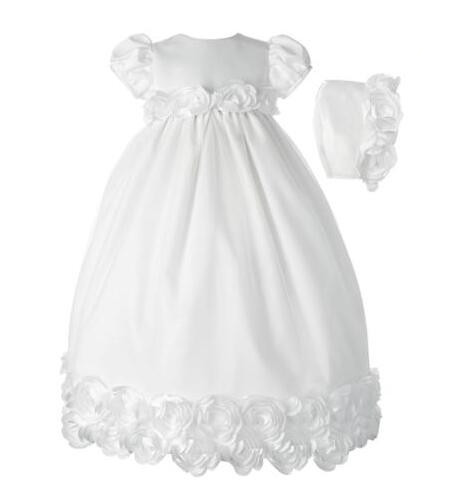 Graceful Newborn Baby Girl Christening Dress Baby Girl Baptism Gown White/Ivory Floral Trim First Communion Dress 0-24Month