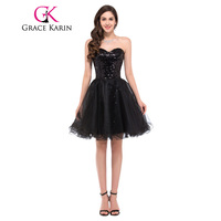Grace Karin Cocktail Dress Elegant Short Prom Dress 2016 Sweetheart Beading Sequins Tulle Homecoming Party Gown