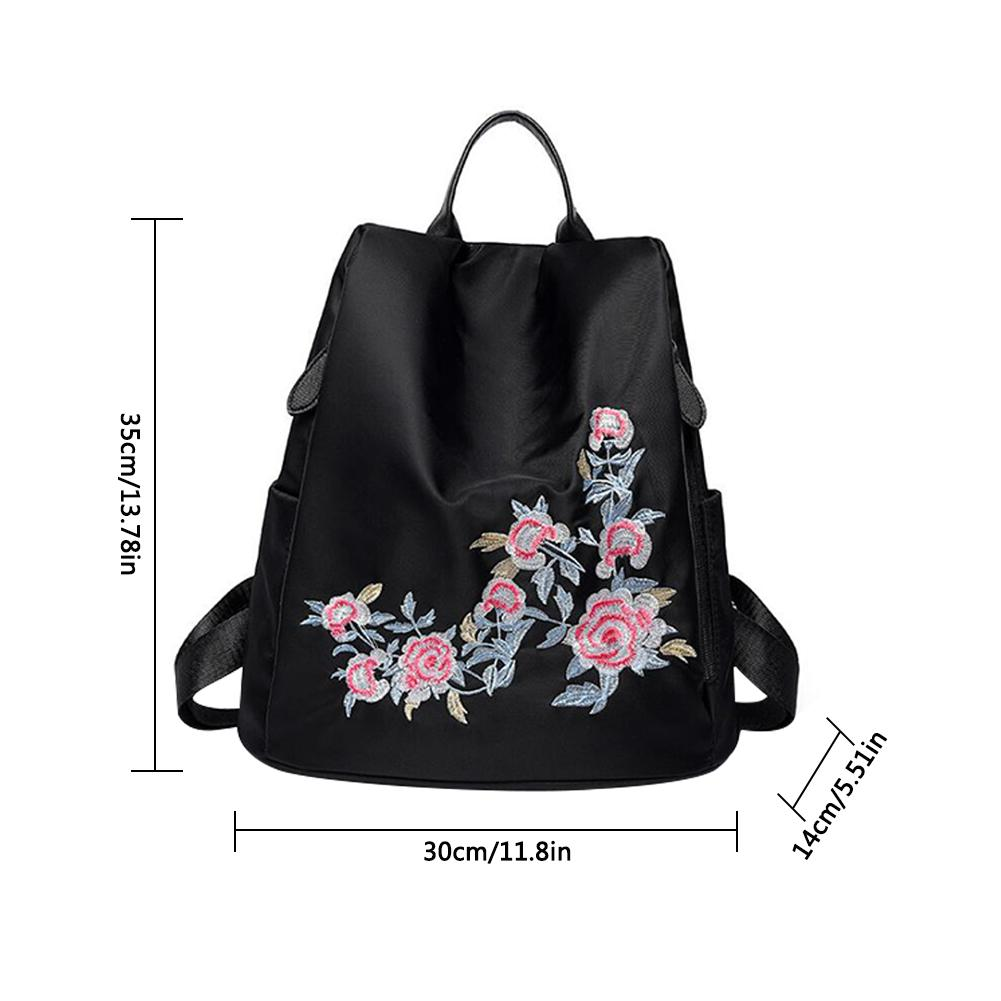 bd40d144c7 Ethnic Style Embroidered Nylon Backpack Oxford Cloth Waterproof Anti theft  Travel Fashion Shoulder Backpacks For Women Girl Bags-in Backpacks from  Luggage ...