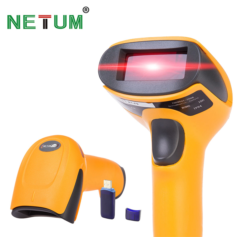 Wireless Laser Barcode Scanner Long Range Cordless Bar Code Reader for POS and Inventory - NT-2028 laser wireless scanning gun barcode reader express inventory dedicated 32 bit