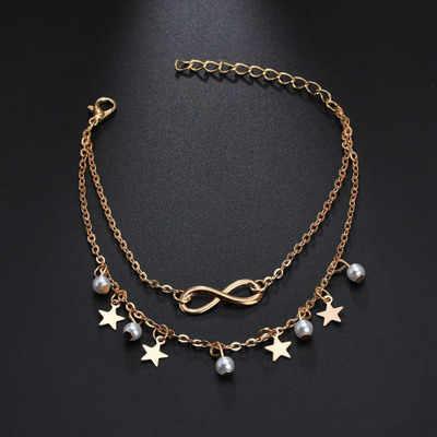 Звезда Форма 8 жемчуг лодыжки Mulitilayer браслет босоножки, браслеты на ногу для женщин Пляжная бижутерия для ног ножная цепочка аксессуар