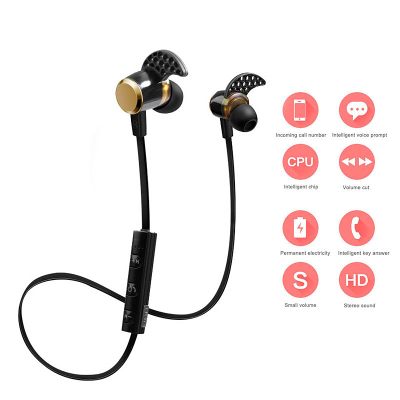 New Wireless Bluetooth 4.1 Earphones Stereo Sweatproof Headphones  with Mic for iPhone Samsung Xiaomi Huawei  @JH