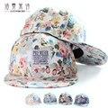 Пара Бейсболка С Цветочным Печати Регулируемые женщин Шляпы Тканые Этикетки Мужчин И Женщин Крышка Хип-Хоп Крышка Плоская Шляпа MZ026