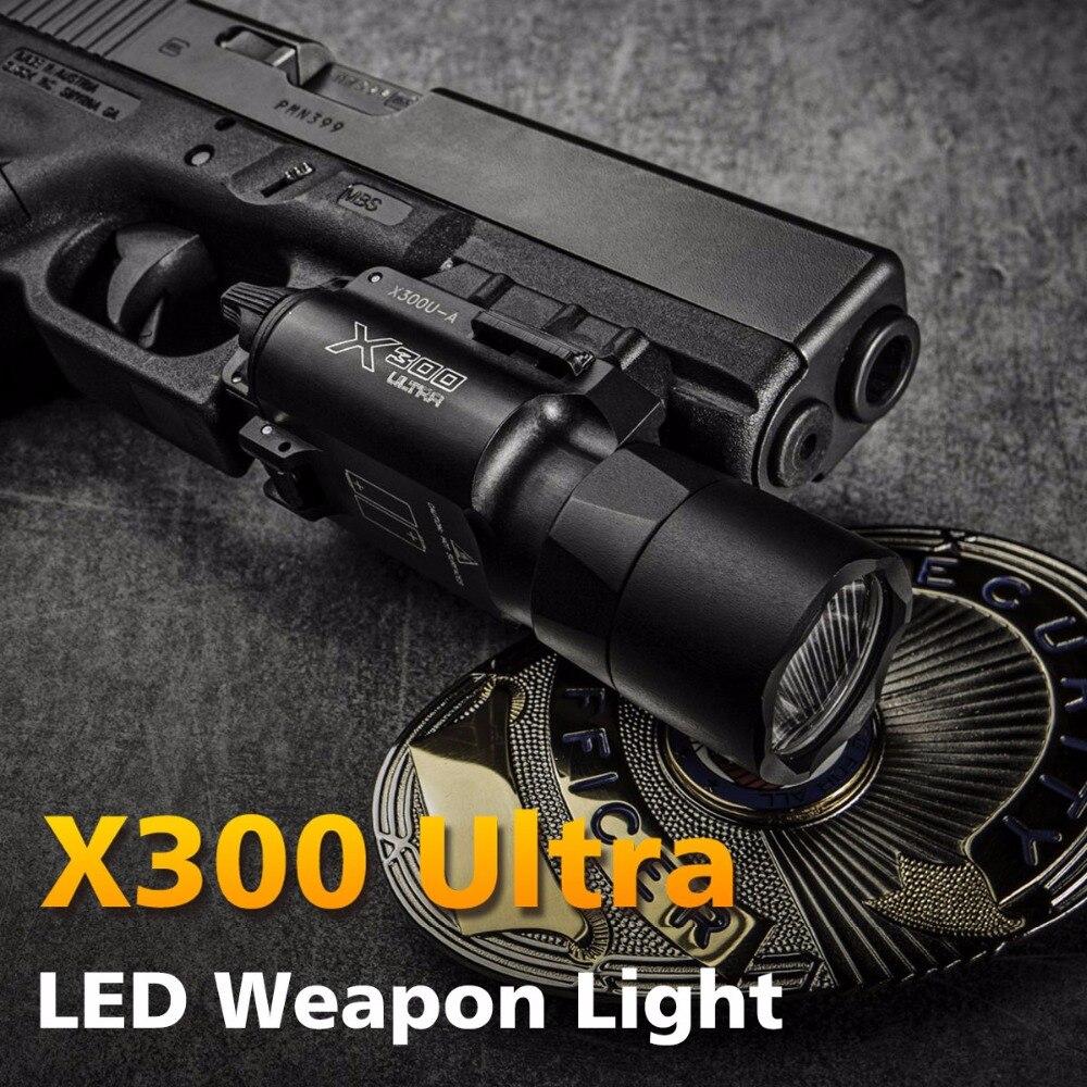 500 Lumens Haute Sortie Tactique X300 Ultra Pistolet Pistolet Lumière X300U Arme Légère Lanterna lampe de Poche Glock 1911 Pistolet Lumière