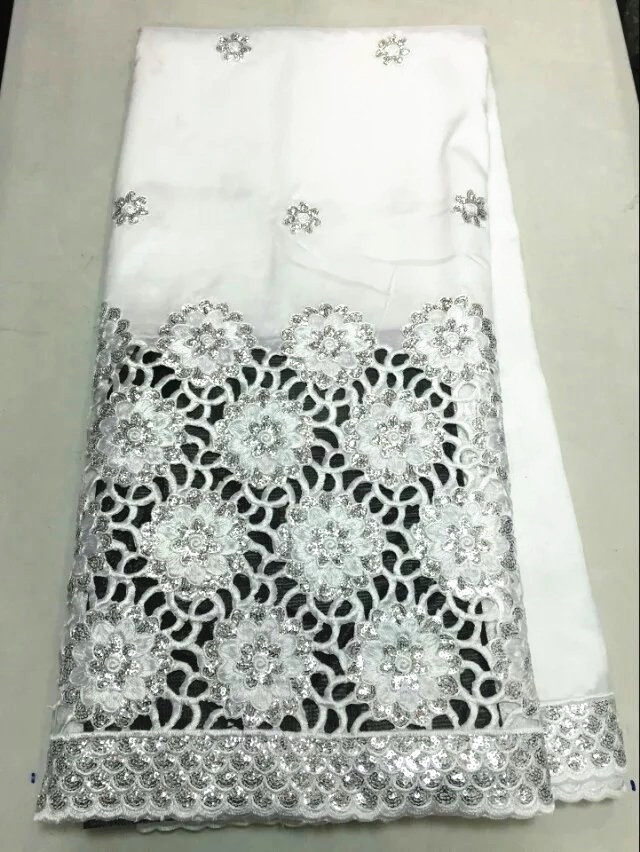 Hot sale white african george lace fabric with silver sequins flower french lace material for party