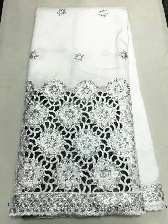 Offre spéciale blanc africain george dentelle tissu avec argent paillettes fleur français dentelle matériel pour robe de soirée OG39-5, 5 yards/lot