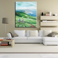Best canvas Oil Painting Handmade Landscape Scenery Wall Art Spring picture Wall Decor Art Oil Painting Home Decor for bedroom