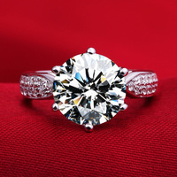 1 5 Carat PT950 High End Ceremony Lovers Finger Ring SONA Synthetic Fashion Ring 925 Sterling