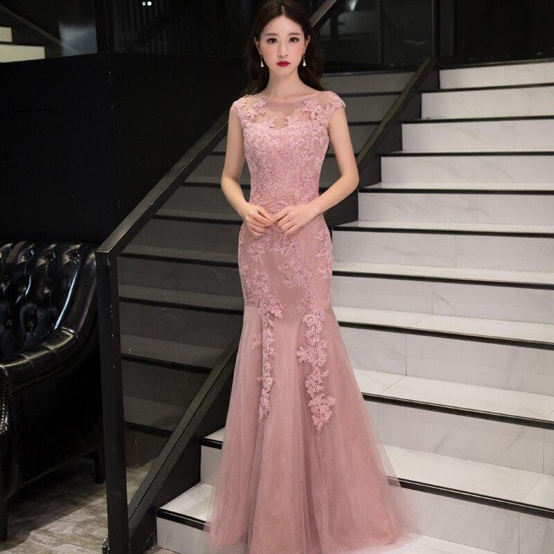 Holievery Tulle sirène robes de bal avec Appliques de dentelle 2019 dos nu longues robes de soirée longueur de plancher robe formelle Galajurken