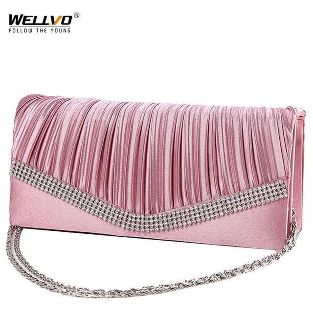 Women Satin Clutch Bag Rhinestone Evening Purse Ladies Day Clutch Chain Handbag Bridal Wedding Party Bag Bolsa Mujer 2018 XA1080 1