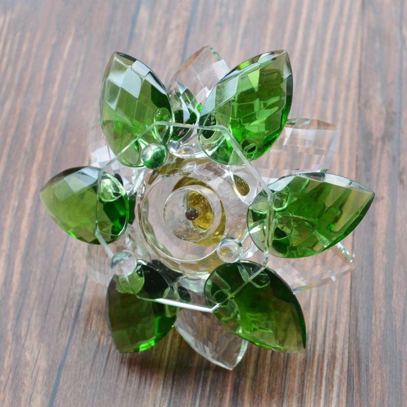 Jqj crystal glass hue reflection lotus flower perfume bottle green jqj crystal glass hue reflection lotus flower perfume bottle green feng shui oil bottle refillable craft gift with gift box in figurines miniatures from mightylinksfo