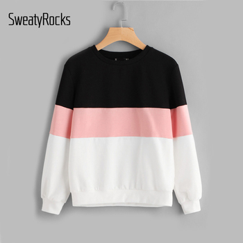 SweatyRocks Active Chic Sweatshirts Cut Sew Patchwork Pullovers Women Tops Color Block Crew Neck Fall Casual Women Sweatshirts