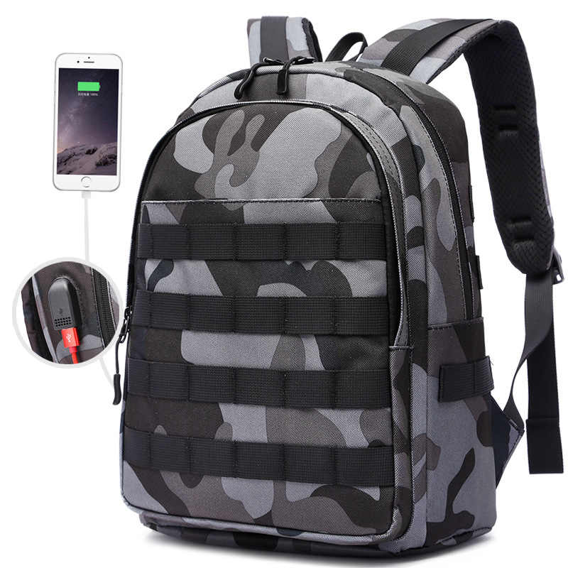 Mini Backpack PUBG Backpack Men School Bags Mochila Pubg Battlefield Infantry Pack Camouflage Travel Canvas USB Back Knapsack