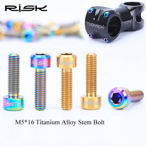 Image 1 - 6PCS M5x16mm Titanium Stem Fixing Bolts For Bike MTB Bicycle Stem Screws Fixed Bolts Bike Cycling Parts 3 Colors