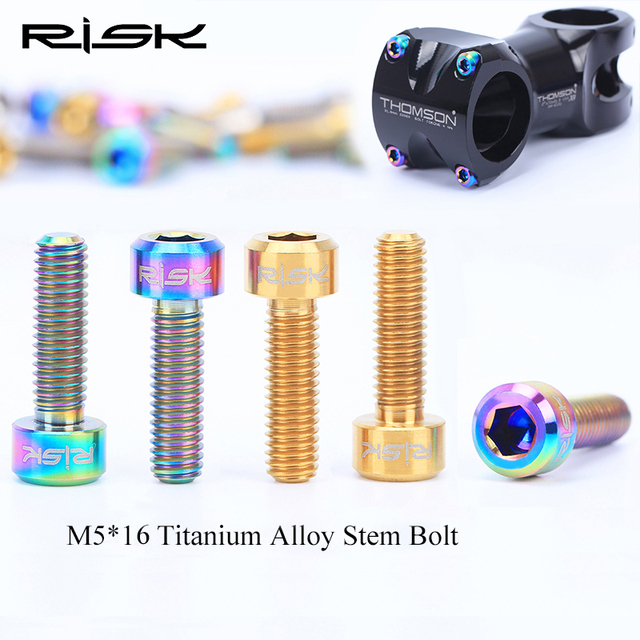 6PCS M5x16mm Titanium Stem Fixing Bolts For Bike MTB Bicycle Stem Screws Fixed Bolts Bike Cycling Parts 3 Colors