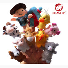 10 pcs per lot Baby Short Plush Toy Finger Puppets Tell Story Props(8 Animal Group+ 1 Famer +1 House) Animal Doll Children Gift