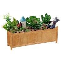 90CM Large Rectangular Wooden Garden Planter Heavy Duty Trough Pot Herb Succulent Flower Bed Box Basket Garden Supplies