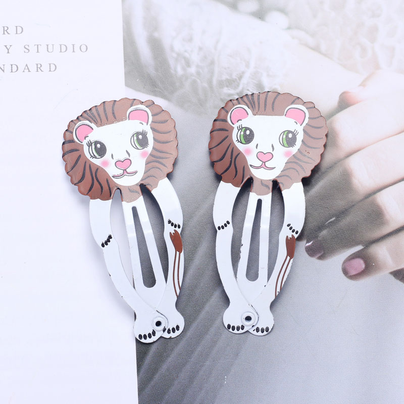 10pcs Snap Hair Clips for Children Hair Pin Baby Girls Hairpins Elephant Tiger Rabbit Hairgrip Cute Animal Shaped Color Barrette