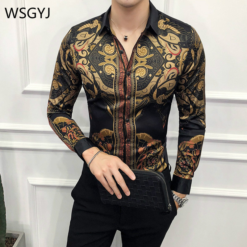 WSGYJ Brand Gold Black Shirt Men 2019 New Slim Fit Long Sleeve Camisa Masculina Chemise Homme Social Men Club Prom Shirt