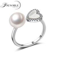De luxe opale anneau pour les femmes, naturel blanc/rose/pourpre perle d'eau douce anneau bijoux réglable, 925 argent bague de fiançailles