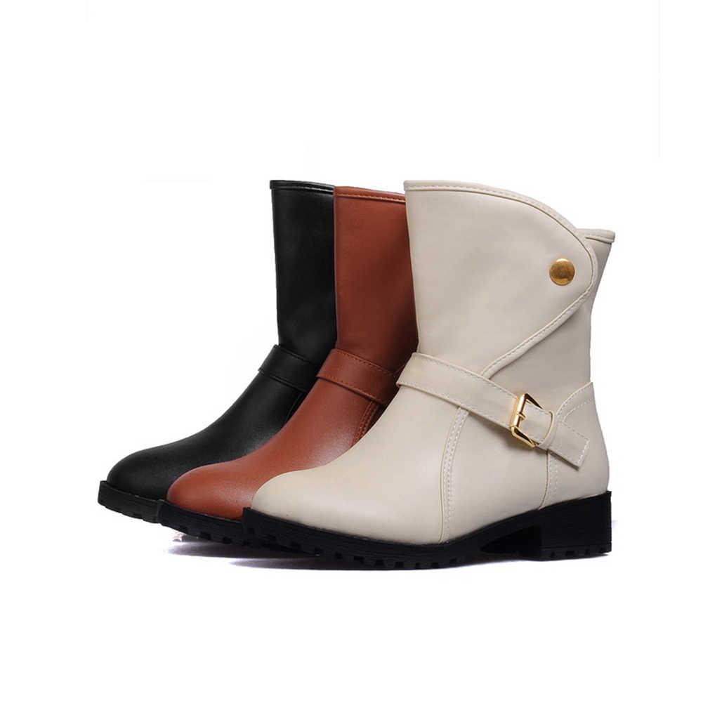 BONJOMARISA 2019 Sonbahar Kış Büyük Boy 34-43 Sıcak Satış Batı Kadınlar yarım çizmeler Eklemek Kürk Sıcak Botlar Kadın Düşük topuk Ayakkabı Kadın